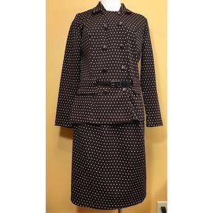 Vintage Brown w/ White Polkadot Skirt Suit Set